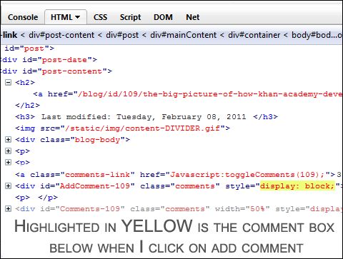 Highlighted Firebug code in yellow when add comment button below is clicked