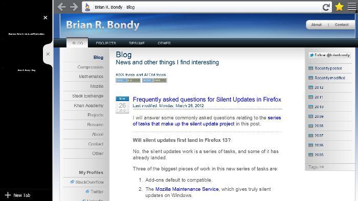 A working Firefox Windows 8 Metro prototype, status update 3 - Brian
